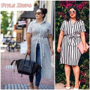 B&W Striped T-shirt Dress | Plus Size